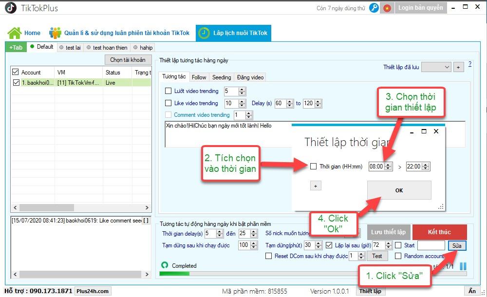 Tool nuôi tài khoản tiktok Plus