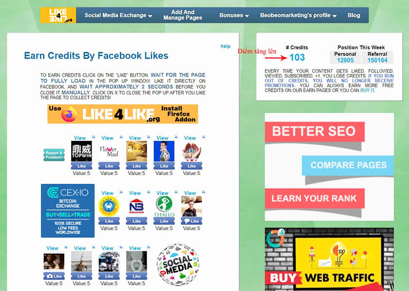 Trao đổi like Page Facebook