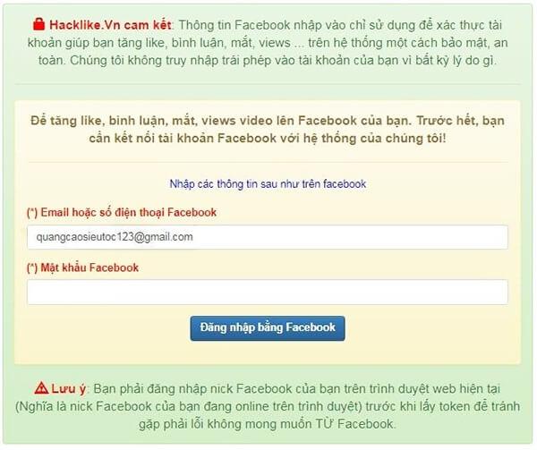 Đăng nhập acc facebook phụ