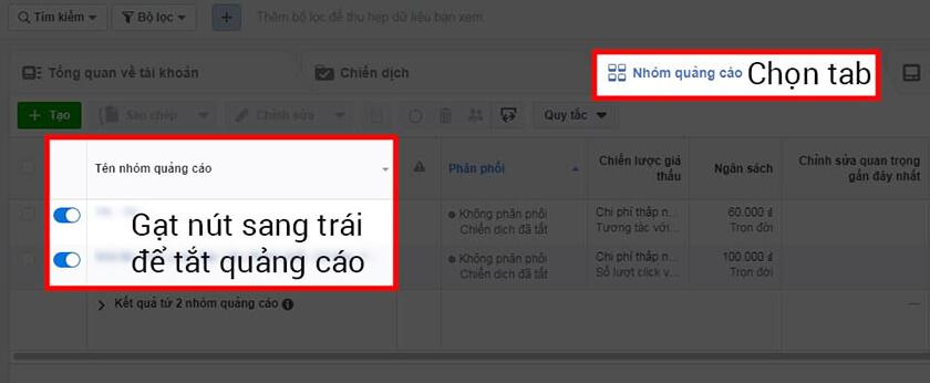 Dừng nhóm quảng cáo trên Facebook