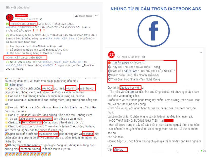 Quảng cáo Facebook không được phê duyệt do dùng từ cấm