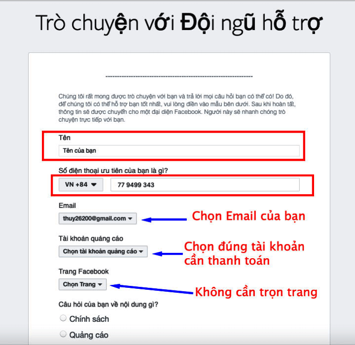 Điền thông tin vào form đăng ký