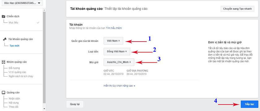 Cài đặt quảng cáo tin nhắn Facebook