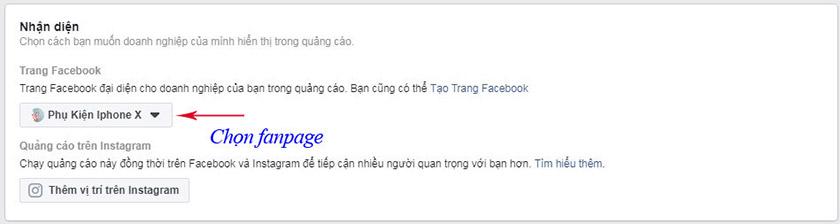 Chọn Fanpage muốn quảng cáo
