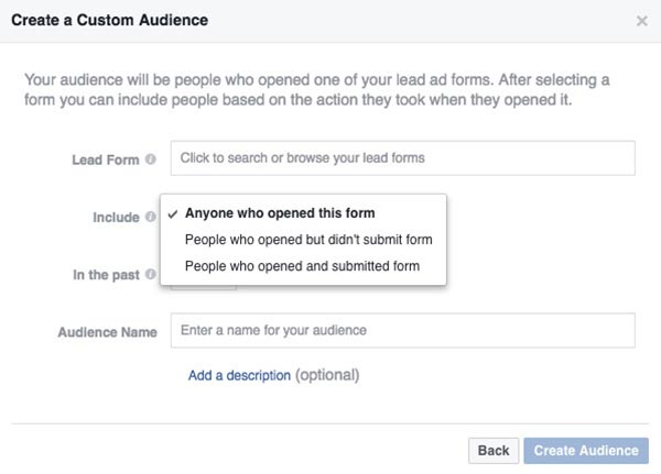 Remarketing Facebook Lead Ad