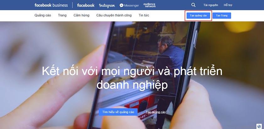 Tạo quảng cáo Facebook bằng visa