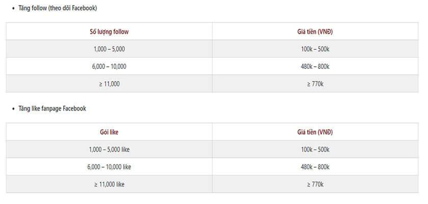 Bảng giá dịch vụ tăng follow của Toz Dv
