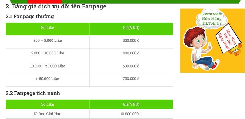 bảng giá đổi tên fanpage beobeo