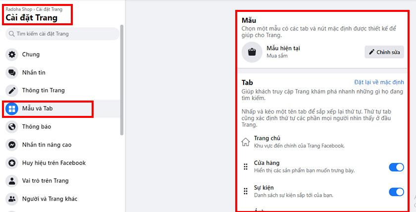 Chọn mẫu và tab