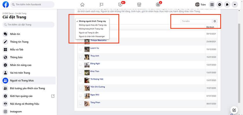Danh sách những người like fanpage