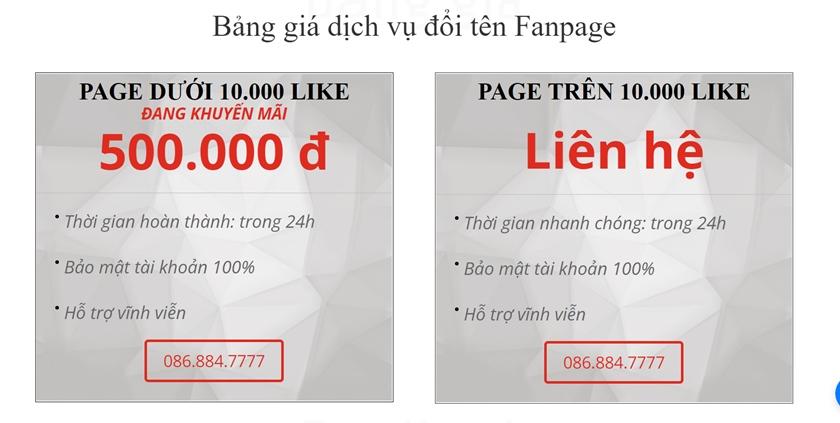 dịch vụ đổi tên fanpage hcm BTH
