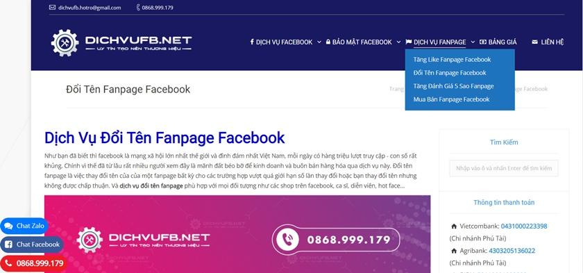 Dịch vụ đổi tên fanpage trên 200l like dichvuFb