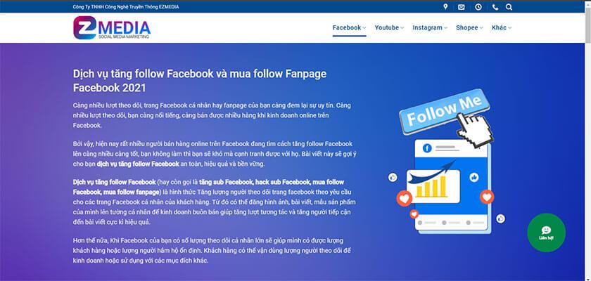 Dịch vụ tăng follow Facebook tại Ezmedia