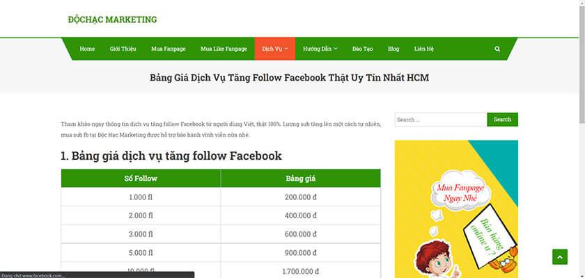Dịch vụ tăng follow Facebook tại Độc Hạc Marketing