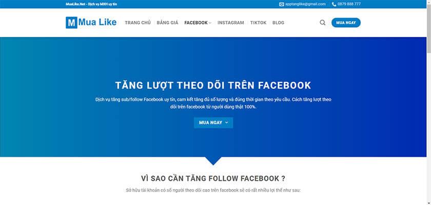 Dịch vụ mua follow Facebook tại Mualike
