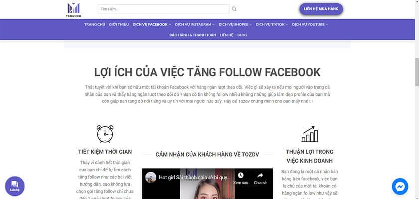 Mua sub Facebook, tăng follow Facebook tại TOZDV