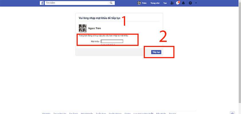 Nhập mật khẩu facebook