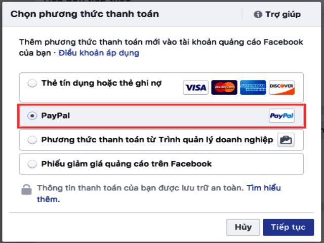 Bạn cũng có thể thêm tài khoản Paypal